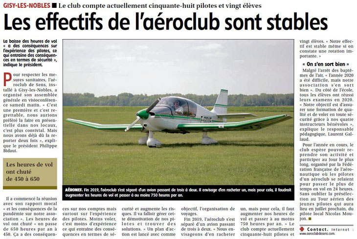 Aéro-club de Sens - Reportage de l'Yonne Républicaine lors de l'AG 2021 du 24/04/2021