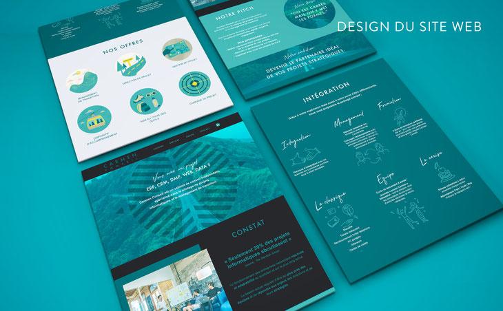Design graphique des différentes blocs du site web de Carmen Conseil. Graphisme et UI design à Bordeaux.