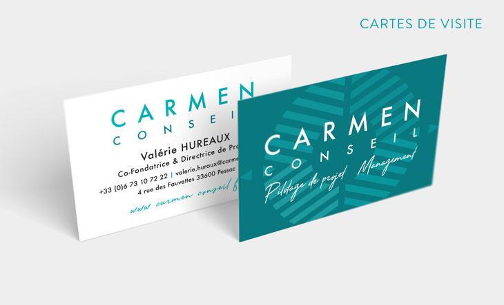 Design graphique des cartes de visite pour l'entreprise Carmen Conseil à Bordeaux.