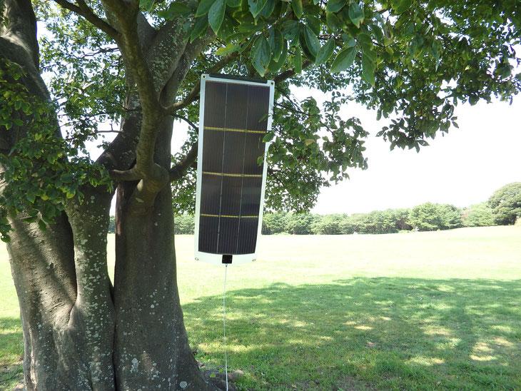 アウトドアではフックなどを活用して木につりさげてスマホ充電!超軽量のMAKIMONOならこんなに簡単です。