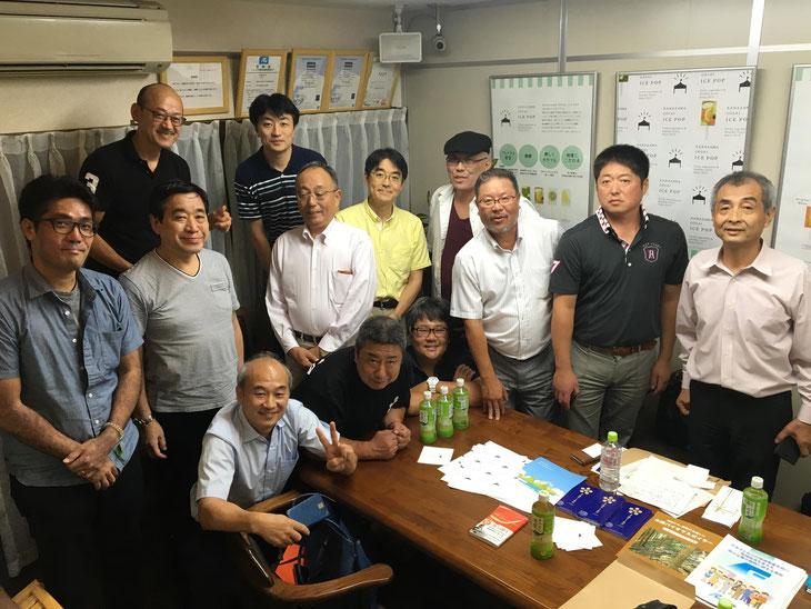 バイオマス銭湯シンポジウムを終え、北海道、石川、福井、愛知、神奈川、東京、大阪から来た熱い仲間と一枚。