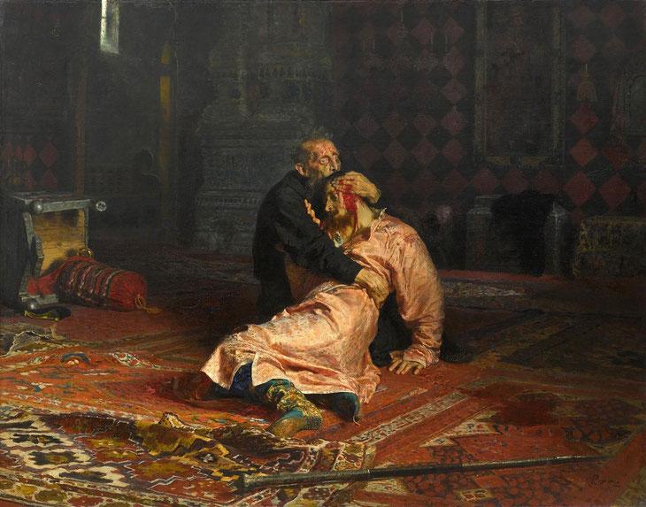 """Il'ja Efimovič Repin , """"Ivan il terribile e suo figlio il 16 novembre 1581"""" (1883-1885)"""