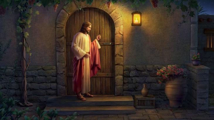 Jésus-Christ viendrait, en effet, symboliquement frapper à la porte des églises. Seul celui qui est vigilant entendra sa voix et pourra lui ouvrir sa porte. Il aura alors l'immense privilège de s'assoir sur le trône du Christ.  église de Laodicée.