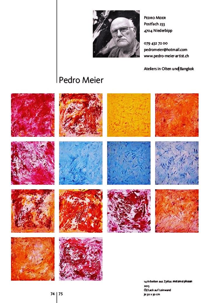 Pedro Meier – »90 jahre visarte Solothurn 1926–2016« – Buch / Publikation – Seite 1 / 3 – Pedro Meier Multimedia Artist Gerhard Meier Weg Niederbipp – Olten – Bangkok