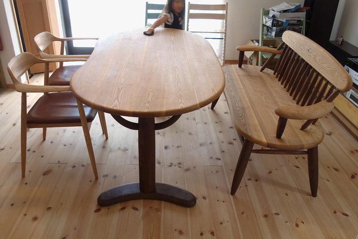 そら豆ダイニングテーブル&そら豆ベンチ(愛甲郡清川村・T様邸)