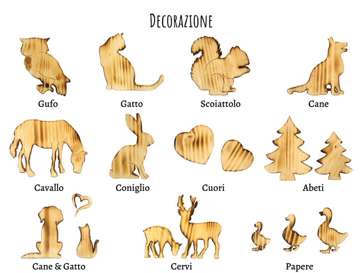 sagome di legno e animali di legno decorativi