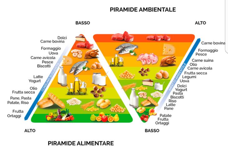 La doppia piramide, la piramide alimentare associata a quella sul consumo di acqua per classe alimentare