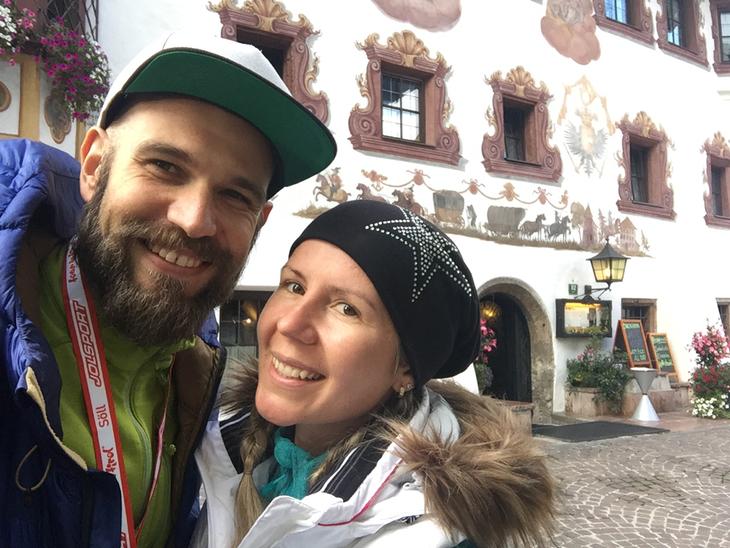 einfach nur happy mit Dani nach 3 Tagen Laufen (75 km 3600 Höhenmeter)