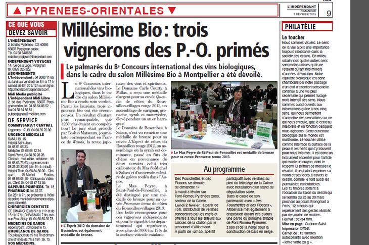 domaine de Besombes, actualités vins du Roussillon