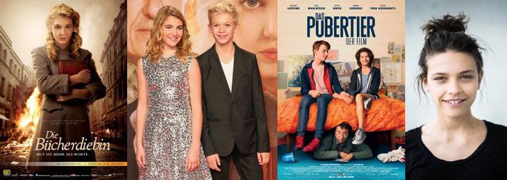 Filmplakat: Die Bücherdiebin, Sophie Nélisse & Nico Liersch © Goldene Kamera, Filmplakat: Das Pubertier, Harriet © Luis Kuhn