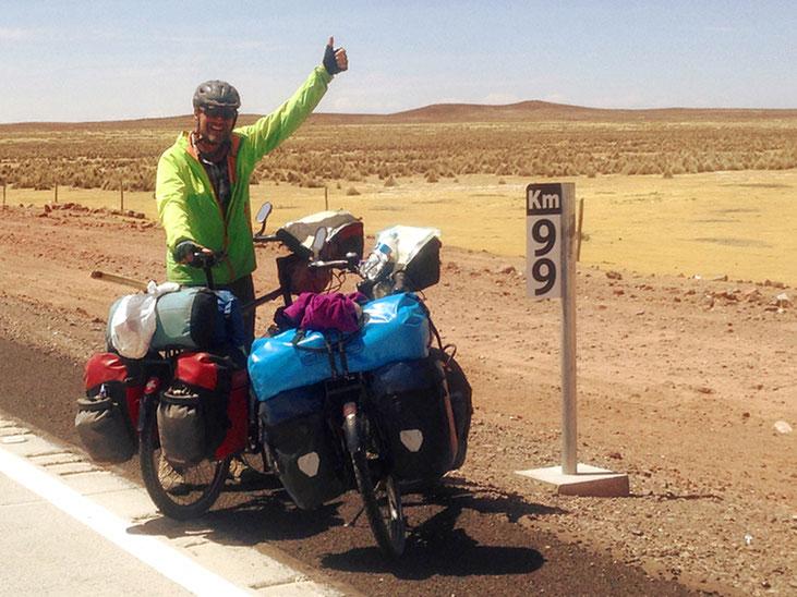 99 + 49'901 Kilometer gefahren. Genau hier und heute am 11. September 2017 haben wir 50'000 Velokilometer auf dem Zähler!