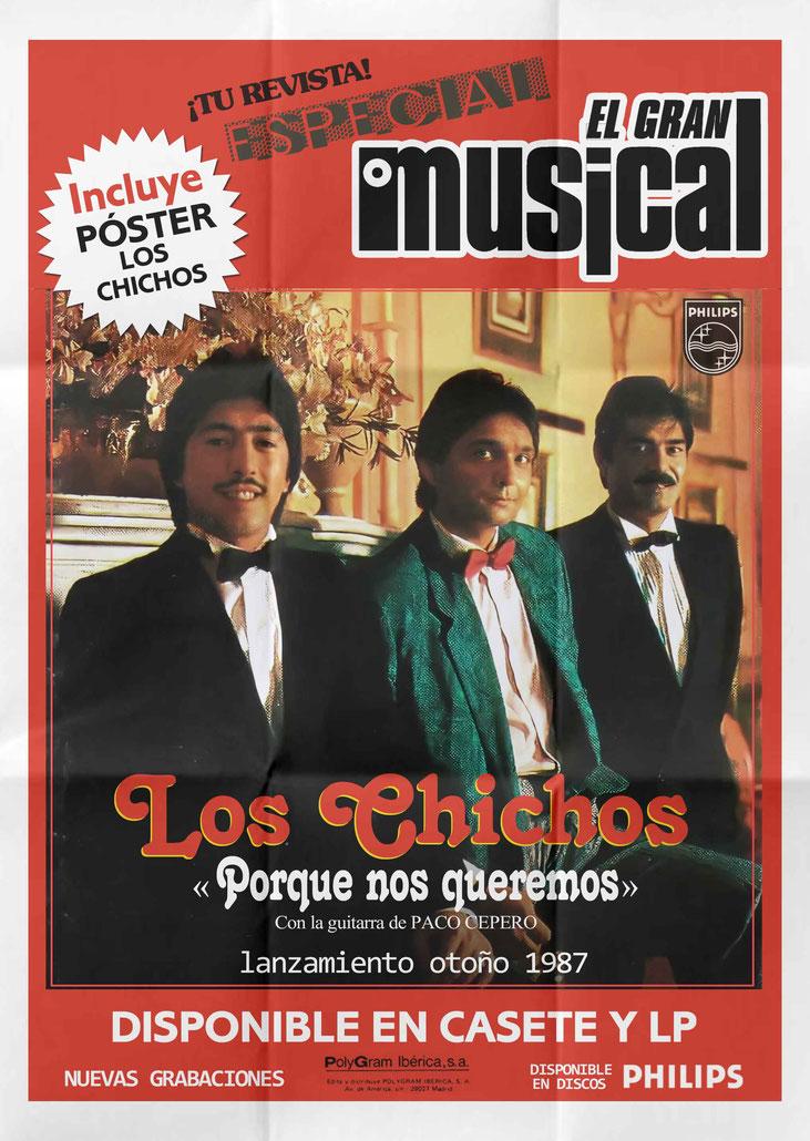 Póster lanzamiento de su nuevo disco Porque nos queremos 1987, disponible e discos PHILIPS