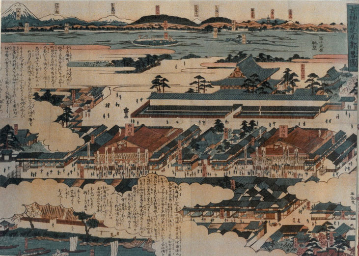 幕末頃の図、向かって上には東別院、その下に左右を芝居小屋に囲まれた崇覚寺が描かれています。