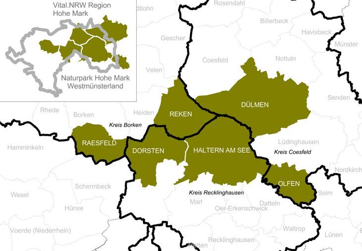 Abgrenzung der VITAL.NRW-Region. Datenquelle: RVR; Darstellung: Albrecht, Gunther