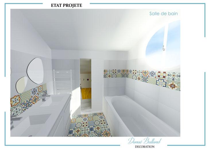 Rénovation salle de bain combles aménagement baignoire carreaux ciment