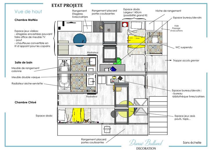 Plan aménagement combles chambres salle de bain