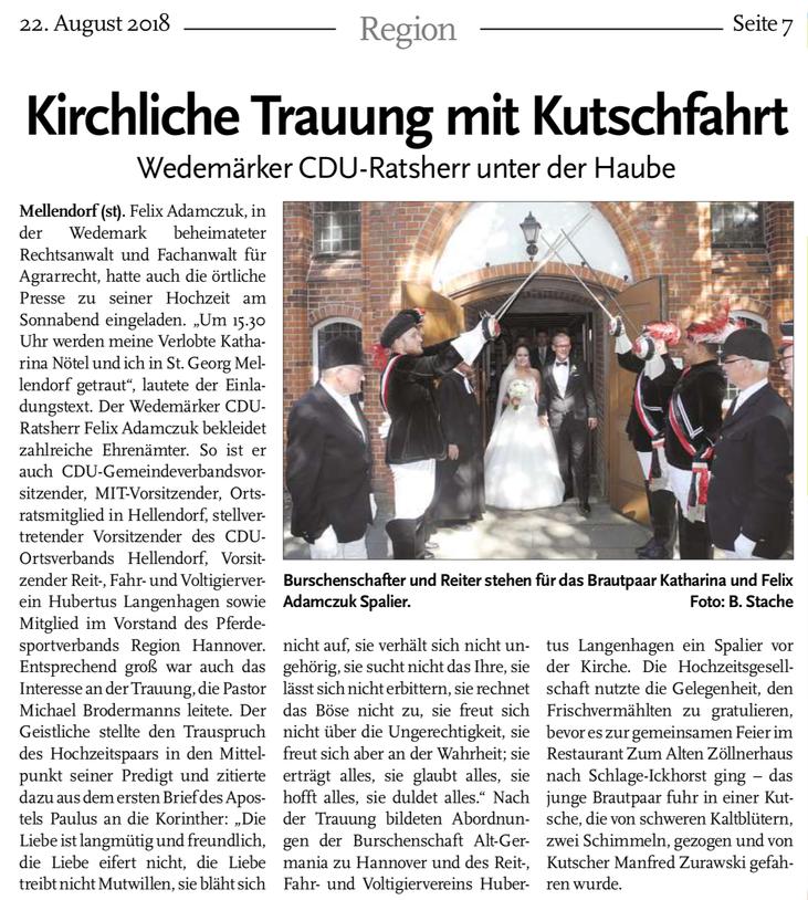 Quelle: Echo Langenhagen Ausgabe 22.08.2018