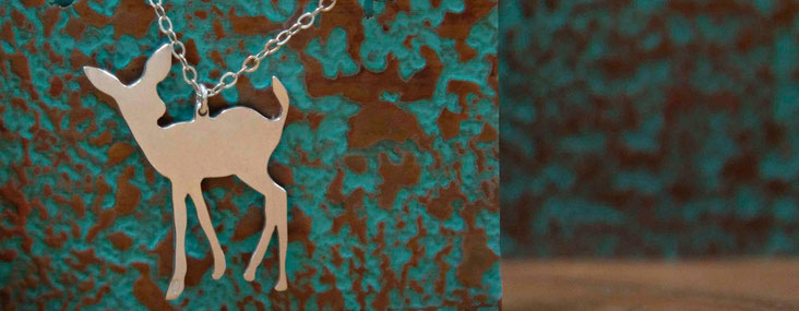 Emma Hedley silver deer necklace