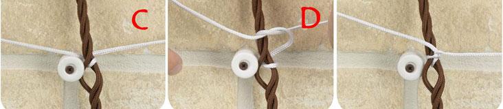 legatura cavi intrecciati su isolatore in ceramica impianti antichi a vista