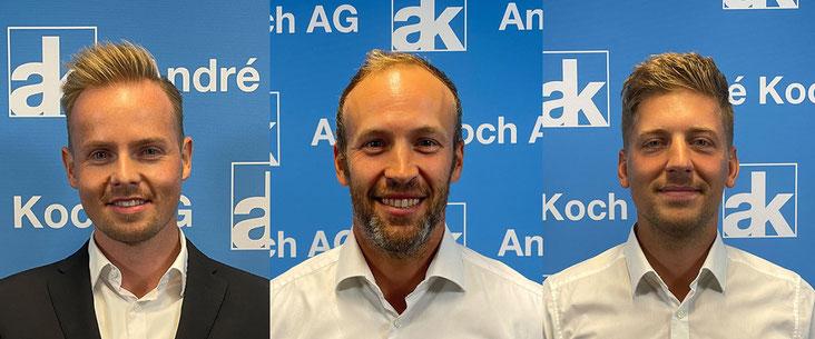 Die André Koch AG erhält Verstärkung (v.l.n.r.): Martin Steffen (Leiter Netzwerke Repanet Suisse und car4rep), Marc Pfister und Kevin Stierli (beide Aussendienst)