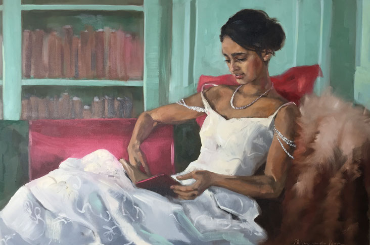 """The debutante"", oil on canvas 120x80 cm, portrait painting commission by Philine van der Vegte"