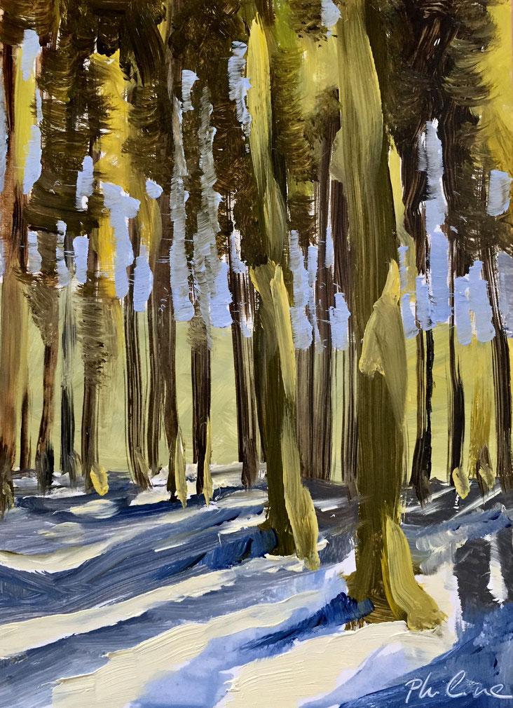 """Sunlight on the snow"", oil on panel 13x18 cm"