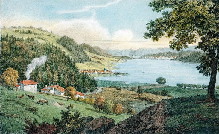 Das Vallée de Joux, vom Mont-Du-Lac aus gesehen. Eine Lithographie von Bourgois, 1822
