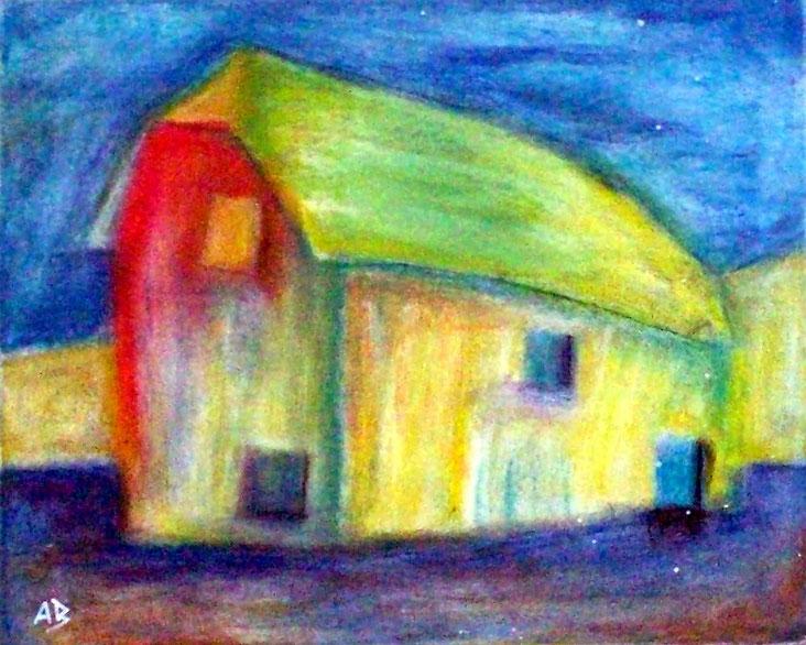 Old House, Altes Haus, Schmiede, Scheune, Pastellgemälde, moderne Malerei, Stillleben, Pastellbildm, Abstrakt, Pastellmalerei, Landschaft