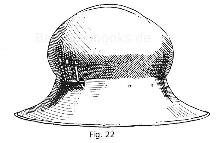 Fig. 22. Eisenhut mit flachem Grat und breiten, tief herabreichenden Krempen. Augsburger Arbeit. 15. Jahrhundert, 2. Hälfte.