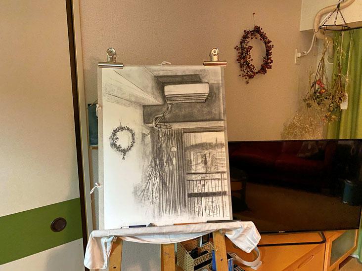 描きかけの木炭画
