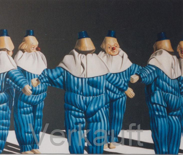 Ölbild mit Clowns