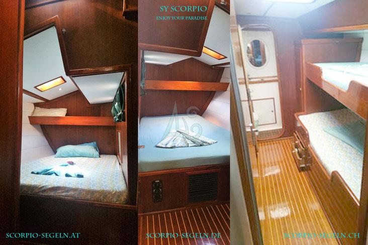 Die Kabinen der Segelyacht Scorpio in der Karibik