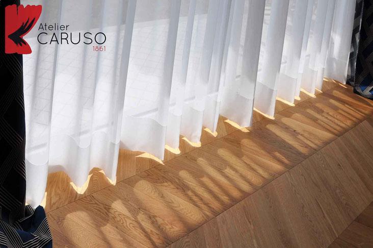Tende trasparenti atelier tessuti arredamento tende - Tende abbinate al copriletto ...