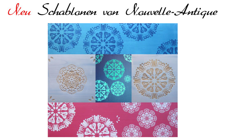 Auf dem Foto sieht man unterschiedliche Schablonenanstriche, die mit Kreidefarbe gestaltet wurden. Die Schablonen sind von Nouvelle-Antique aus Aachen.
