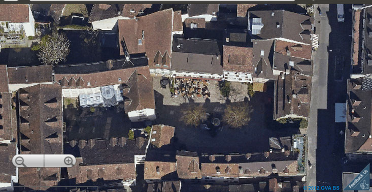 Basel, Schweiz: der Andreasplatz aus Sicht von Google Earth