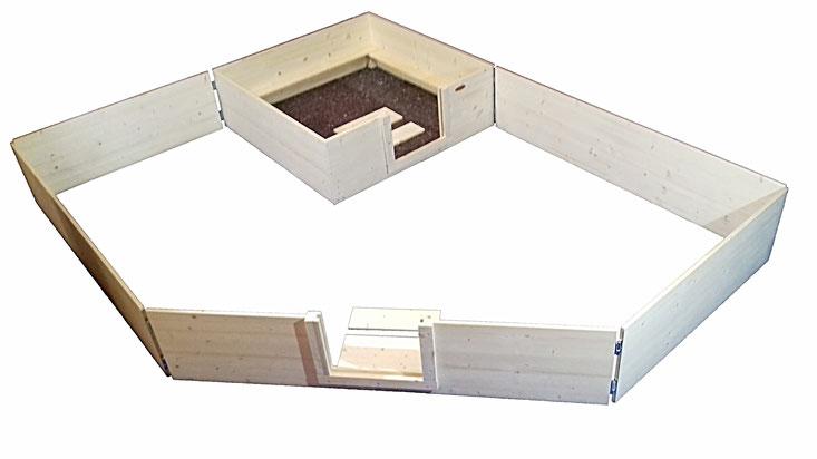 Wurfbox von welpen-wurfkiste.de mit Auslauf aus Massivholz mit Steckscharnieren