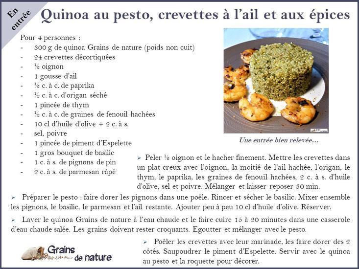Coupe de crevette au safran et quinoa Grains de nature produits en France