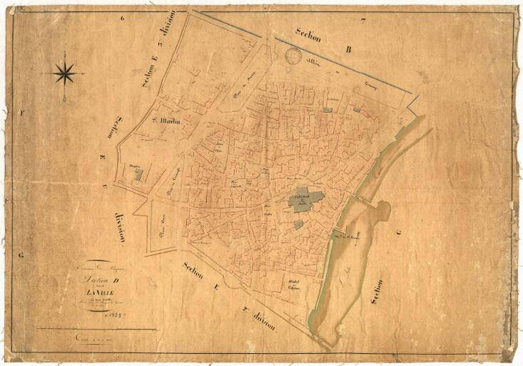 1828 - Plan de la section D dite de la ville -Vue de l'emprise du Moulin de Saint-Front sur la rivière et du Pont Tournepiche