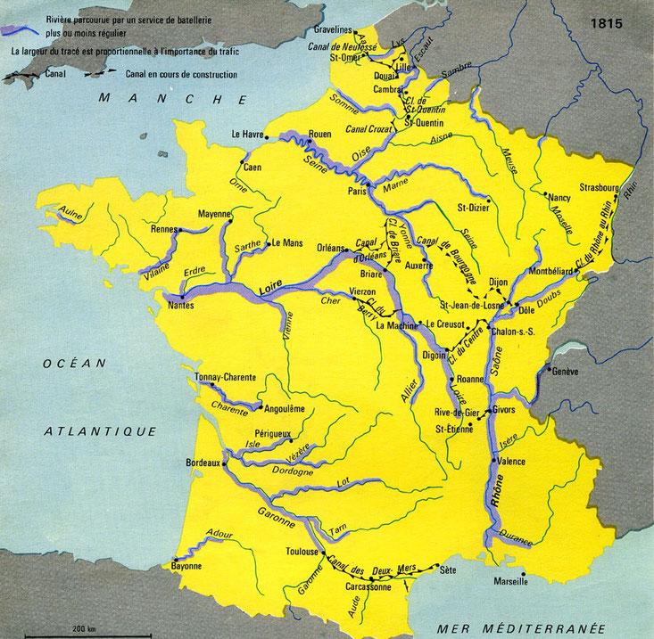 1815- Voies navigables en France. L'Isle officiellement navigable jusqu'à Périgueux du premier novembre 1837 à 1957