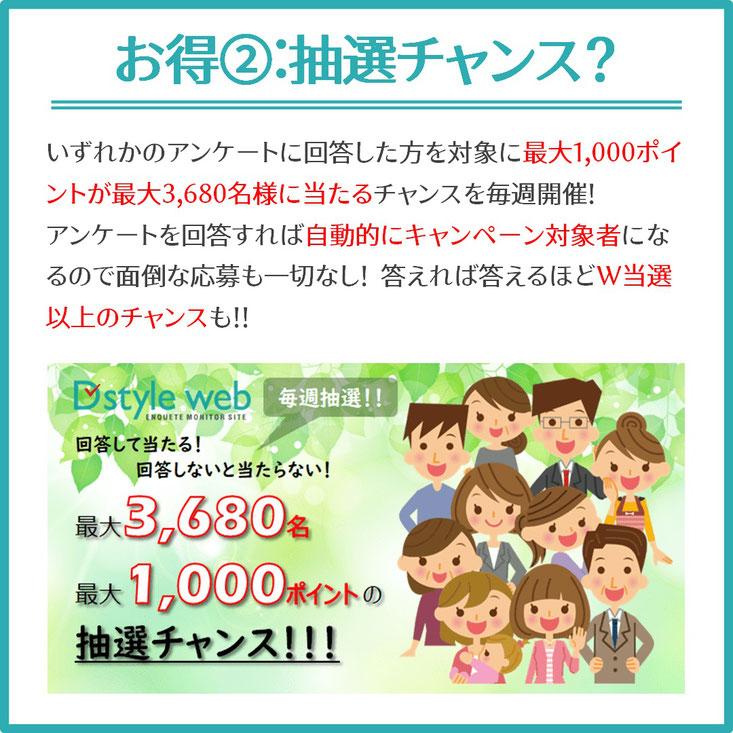 アンケートサイトD style webで毎週1000円のチャンス