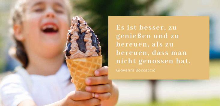 """Lieber geniessen als bereuen -Zitat von Giovanni Boccaccio """"Mit Genuss abnehmen"""" Gastbeitrag stressfrei leicht Petra Schwarz"""