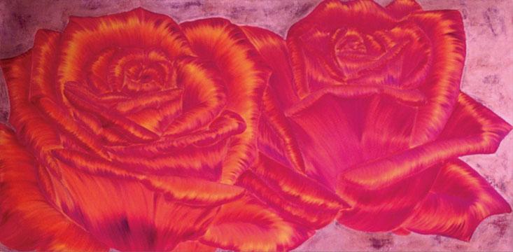 Rosengemälde WILD PASSION, Öl und Blattkupfer auf Leinwand 180 x 90 cm Pia Phoenix