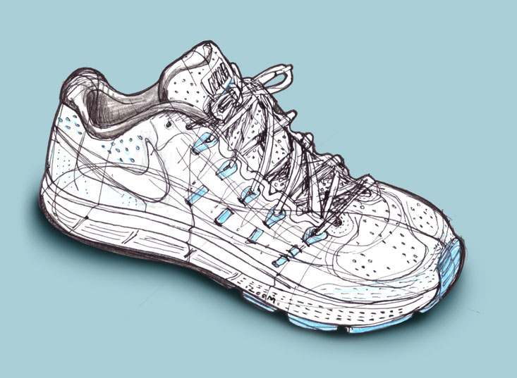 sketch, shoe, nike trainer, running shoe
