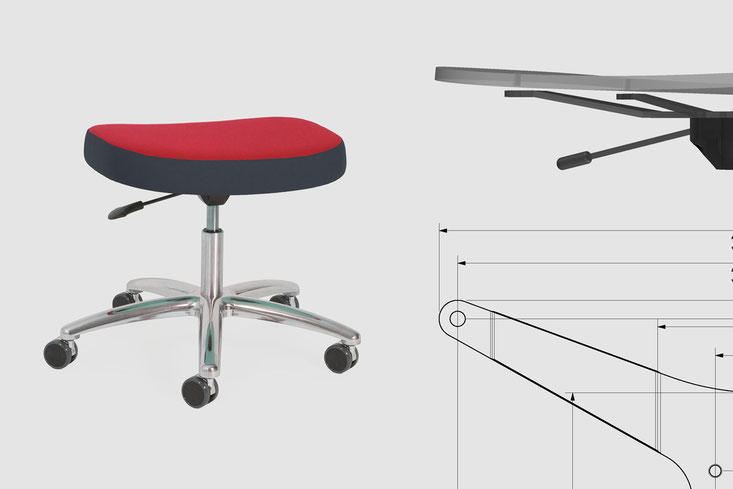 xxl swivel stool, product development based on partial new and partially existing components