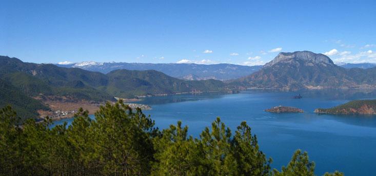 Vistas del lago Lugu, primer asentamiento mosuo
