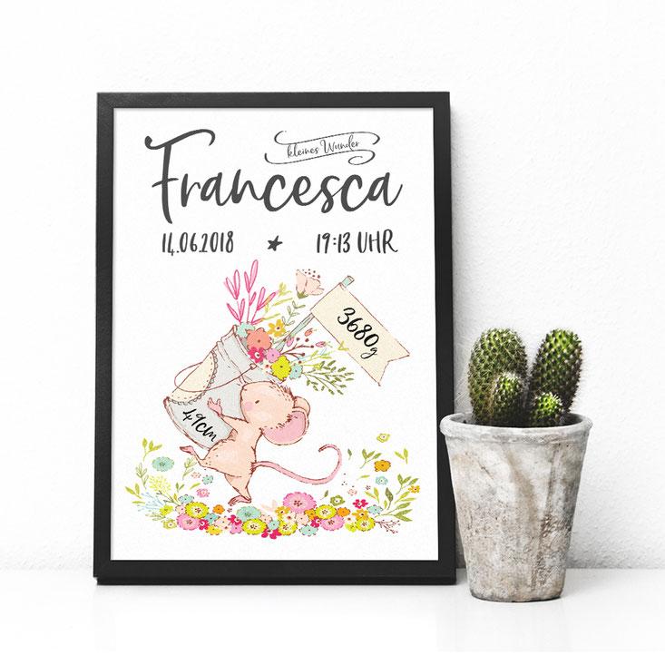 Geburtsanzeige Druck Maus mit Blumen