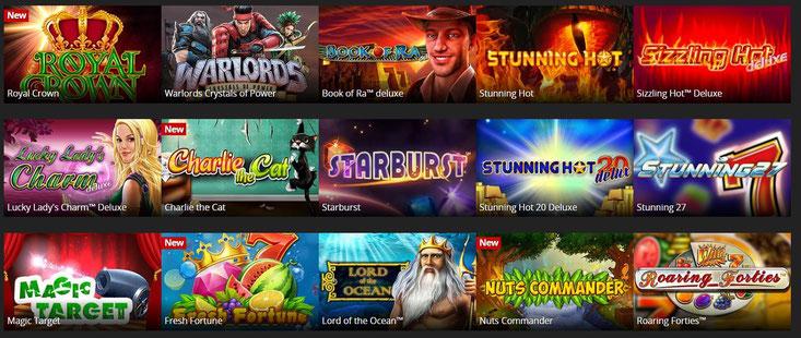Auswahl einiger Spiele im Energy Casino
