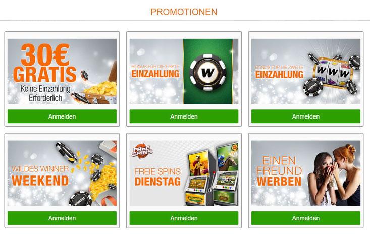 Aktionen von Winner Casino