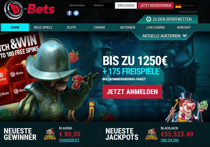 Die neue Casino Lobby von B-Bets