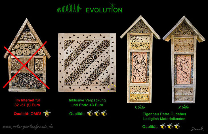 Insektenhotel Insektennisthilfe Nisthilfe insect hotel nesting aid bug house Hartholz mit Bohrungen gebrannter Ton hardwood terra cotta Wildbienen wild bee Neudorff